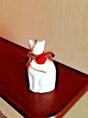 White Cat Ornament Porcelain Ceramic With Red Ribbon