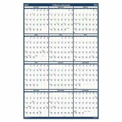 Recycled Poster Style Reversible/Erasable Yearly Wall Calendar 24x37 2018