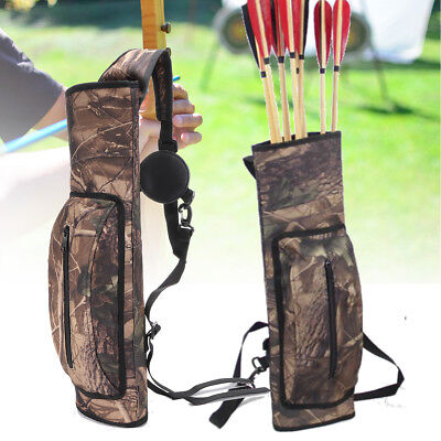 Large Capacity Hunting Archery Back Quiver Bow Arrow Holder w// Shoulder Belt