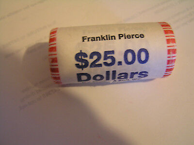FRANKLIN PIERCE Uncirculated Dollar Mint Roll  25 SHINY BEAUTIFUL GOLDEN COINS!!