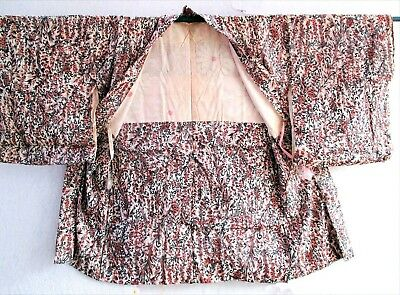 K627 Japanese Vintage Kimono HAORI Jacket SILK Flowers pink tan w/ gold