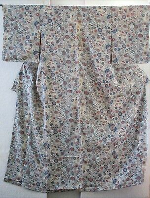 K624 JAPANESE VINTAGE WOOL KIMONO Blue Shades & Rose Lotus Blossoms patchwork