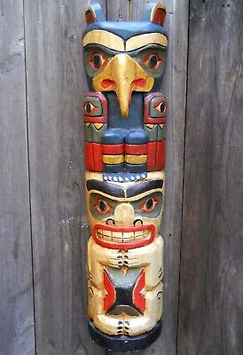 Wooden Mask 50 cm Tribal Eagle American Indian Ethnic Totem Pole Wall Handing