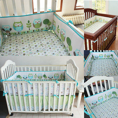 4pcs Set Baby Infant Cot Crib Per Safety Protector Toddler Nursery Bedding