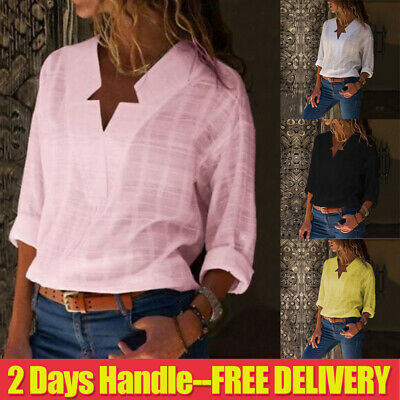UK Womens Sexy V-neck Long Sleeve Casual T Shirt Lady Linen Tops Blouse Size6-20