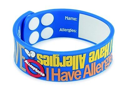"Allermates ""I Have Allergies"" Writable Wristband Medical Id Bracelet Alert Id"