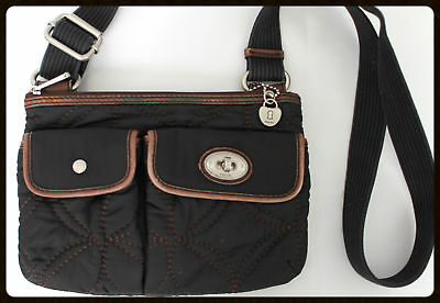 cd6c91fa7a16 Fossil Key Per Black Quilted Crossbody Shoulder Bag Purse Brown Leather