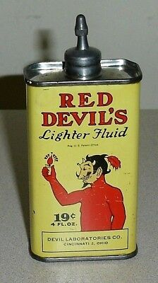 Old Devil Labs Co Lead Top RED DEVIL'S  4 Oz Lighter Fluid Can - Handy Oil Tin