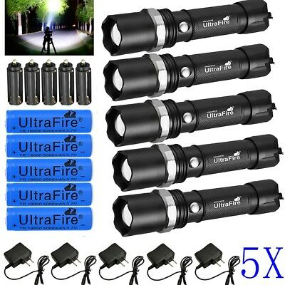 5X Tactical Police 90000 Lumens T6 3Modes LED Flashlight Aluminum Torch Zoomable