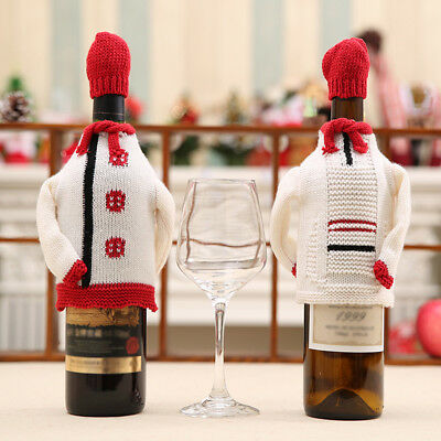 KE_ Christmas Wine Bottle Cover Clothes Xmas Knitted Sweater Hat Table Decor C