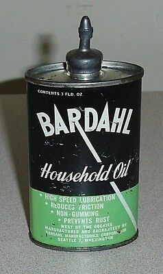 Old Oval BARDAHL Lead Top Household Oil 3 Oz Can - Vintage Handy Oiler Tin w/Cap