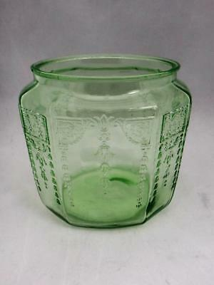 Vtg Anchor Hocking Princess Green Cookie Jar Vaseline Depression Glass No Lid