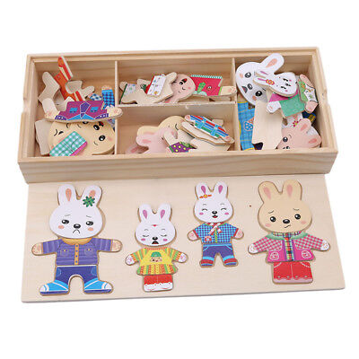 Montessori Wooden Rabbit Puzzles Educational Dress Changing Toys For Kids N7