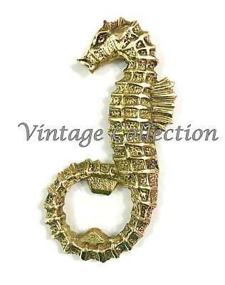 Vintage Brass Polished Seahorse Bottle Opener Beautiful Antique Bar Accessories