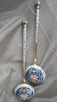 Rare Antique Russian silver shaded cloisonne champleve enamel 2 berry spoons 88