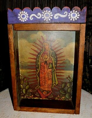 Religious Hispanic Colonial Virgin Mary Rustic Shadow Box Altar Candle Holder Me