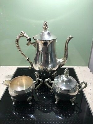 Vintage 3 piece silver plated ornate coffee set