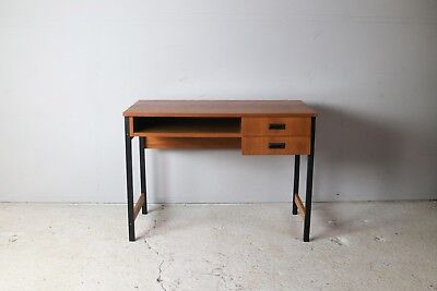 1970's Danish mid century desk with steel legs