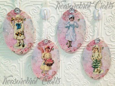 French Country Shabby Cottage Chic Christmas Ornaments - Angels