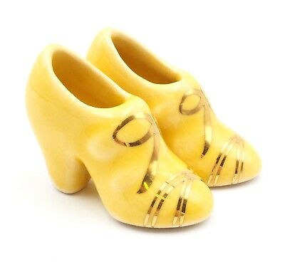 Vintage Pair of Yellow Miniature Ceramic High Heels with Gold Gilding