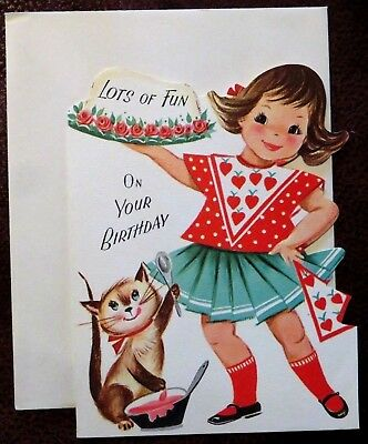 Vintage Birthday Card UNUSED 1950s Girl Dress Holds Cake Kitten Plays w Frosting