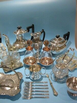 Good Large Job Lot of Beautiful Antique & Vintage Silver Plated Items