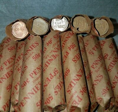 Wheat Pennies Rolls Unsearched 1909-1956