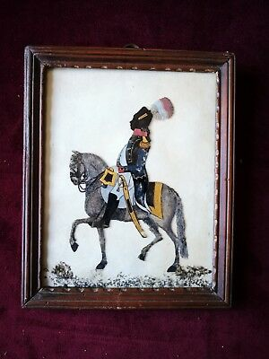 19thC Reverse Glass Painted Silhouette of Napoleon on Horseback - Possibly POW