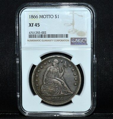 1866-P $1 Seated Liberty Dollar ✪ Ngc Xf-45 ✪ Silver Extra Fine Motto ◢Trusted◣