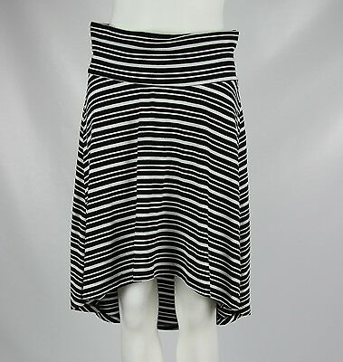 A Pea in the Pod Maternity Skirt Womens Black Stretch Knit Striped Hi-Low Small