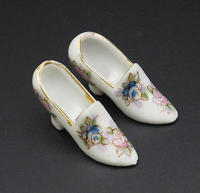 Vintage Porcelain Hand Painted With Gold Gilding White High Heels