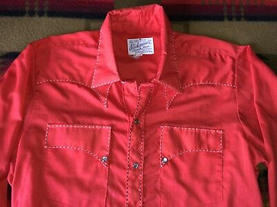 mens medium vintage Rockmount red western pearl snap cowboy shirt M