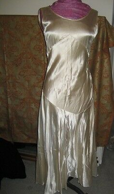 VTG Cream Ivory 1930s BIAS Cut Bridal Gown Silk Satin Art Deco Wedding Dress Med