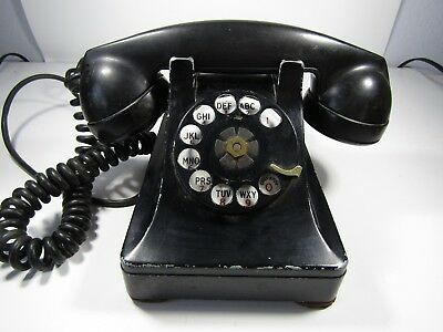 Antique Telephone Bell System by Western Electric F1 Black Rotary F2-3