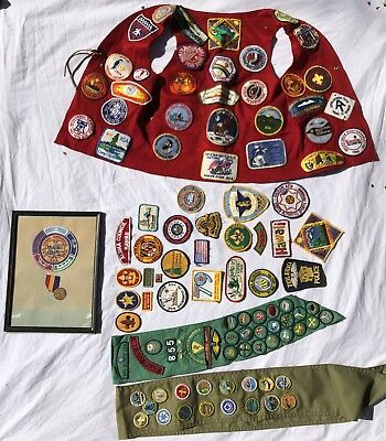 Vintage Lot Boy and Girl Scout Patches 1970s + Miscellaneous Vest Sashes Medal