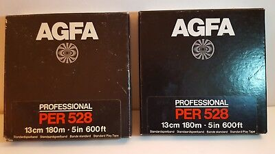 2 Bandes Magnétiques Agfa Professional PER 528 13cm 180m / 5in 600ft - New Neuf