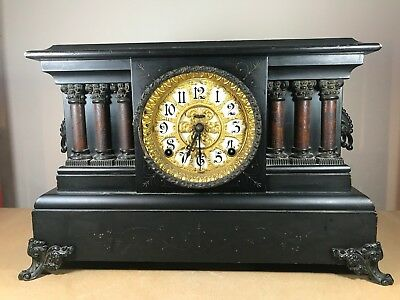 Antique Mantel Clock - Gold Gilt Face Roman Styled Design - For Spares & Repairs
