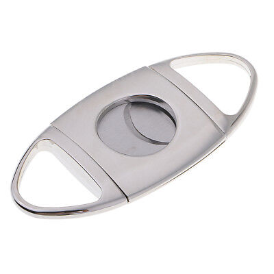 Stainless Steel Cigar Cutter Double Cut Blade Guillotine in Soft Case Silver