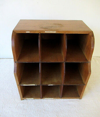 Antique 9 Slot File Box/Tray Oak Wood Office Library Cabinet, Vintage Cubby