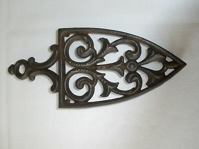 Antique Decorative TRIVET 3-Legged IRON STAND Extensive Back-coping on Reverse