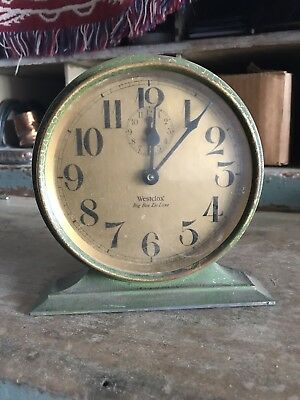 Westclox Alarm Clock Art Deco Metal Shelf Original Green Antique De Luxe Big Ben