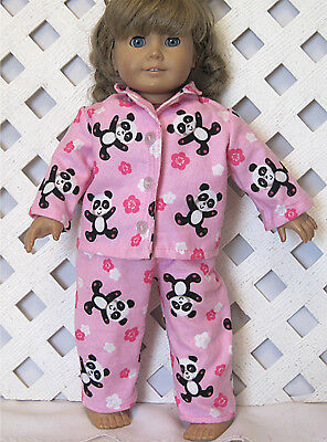 """Pajamas Doll Clothes fits 18"""" American Girl Doll Handmade Panda Flowers on Pink"""
