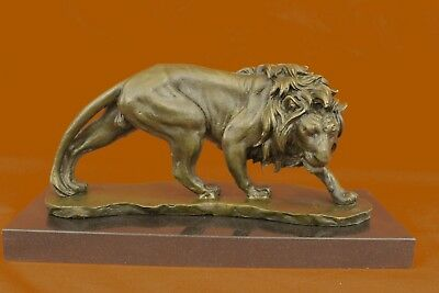 French Museum Quality Lion Solid Bronze On Marble Base Sculpture Decor Art Gift