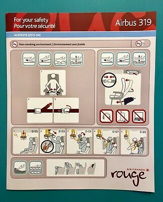 Air Canada Rouge Safety Card--Airbus 319- 2015