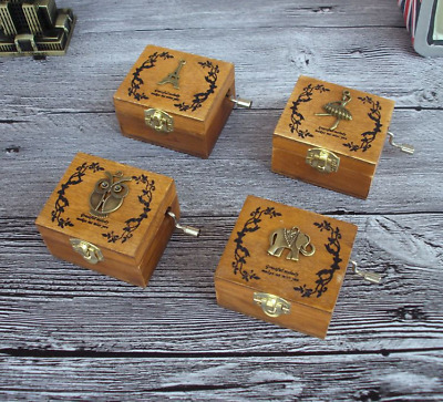 NEW Vintage Carved Exquisite Retro Wooden Hand Crank Music Box Kid Gifts