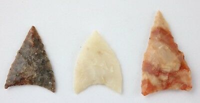 3 Colorful Sahara Neolithic Points - Agate/Petrified Wood - Authentic