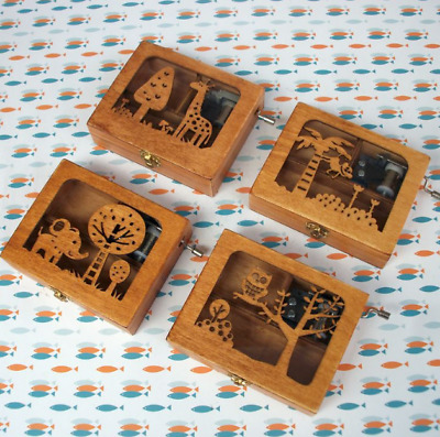 Vintage Carved Exquisite Retro Wooden Hand Crank Music Box Kid Gifts