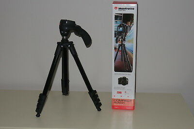Manfrotto Compact Action Aluminum Tripod with Hybrid Head Black   Boxed! Mint!