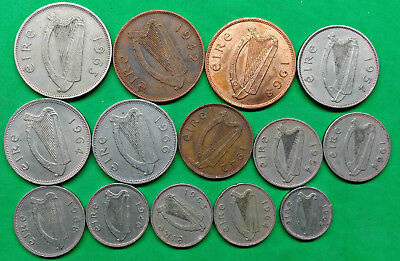 Lot of 14 Different Old Irish Coins 1940-1968 Vintage Ireland !!