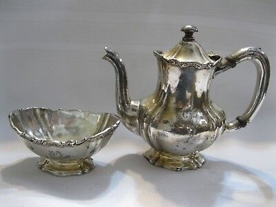 """Reed and Barton Silverplated 1 Pint Teapot and Sugar Bowl Clyde's Engraved """"C"""""""